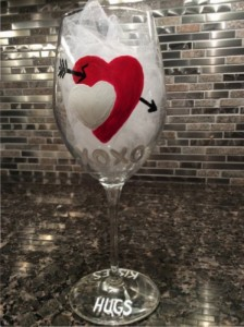 Valentine's Day Gift Handpainted Wine Glass