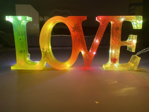 Handmade Resin Signs! Many different words available to pick from! LED lights to light them up in the dark! Available in all colours of your choice!