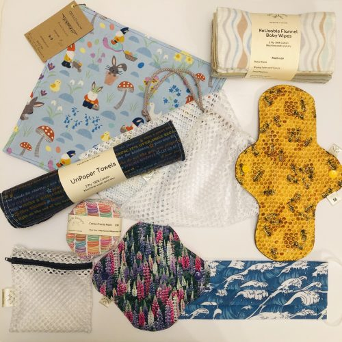 Reusable and eco friendly clothe items.