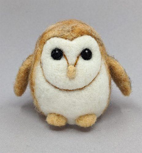 Needle felted Barn Owlet figure
