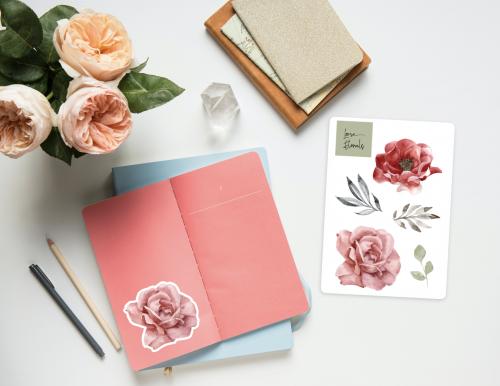 Glossy Flower Stickers
