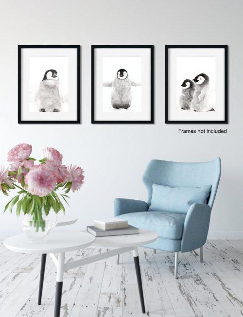 Watercolour Penguin Prints