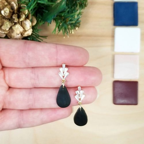 Cubic zirconia stud and clay drop earrings