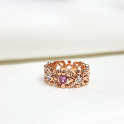 Cherry Blossom Band/ pink gold, Pink & white sapphires